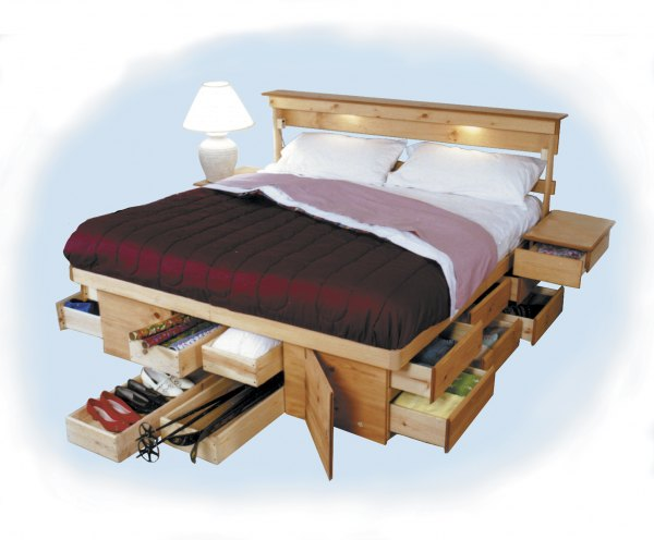 As Shown: King Size Honey Pine Bed Cost: (Pine: $1841, Oak: $2558)